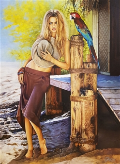 Mikele Arapi - The Blond Girl with a Parrot Oil on Canvas, Paintings
