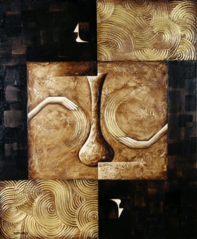 Nora Nourmohammadi - Content and Capacity Mixed Media on Canvas, Mixed Media