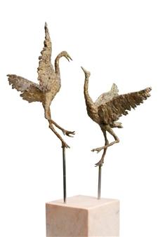 Arno Goossens - Dancing Cranes Bronze, Sculpture