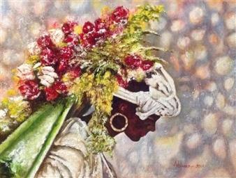 Cesar Alvarez - Silletera Oil on Canvas, Paintings