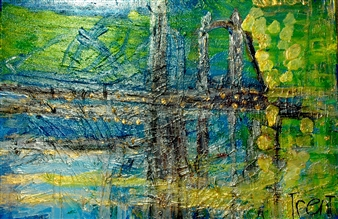Trent Altman - The Golden Bridge Acrylic & Mixed Media on Canvas, Mixed Media