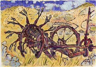Robert Ellison - Potato Digger Horn Head Oil on Canvas, Paintings