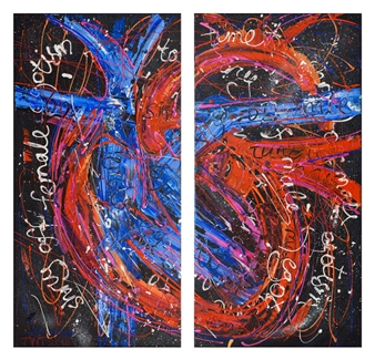 Jessica Watson-Thorp - Time to Shrug Off Male Egotism, Time to Shrug Off Female Egotism Acrylic on Canvas, Paintings