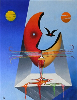 L. W. Shortridge - Birds Eye View Oil on Canvas, Paintings