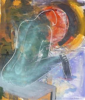 Lars Aukrust - The Green Lady Acrylic on Canvas, Paintings