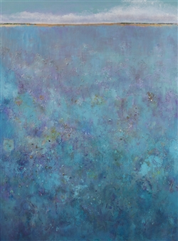 Lois Gold - Blue Landscape Mixed Media on Canvas, Mixed Media