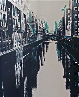 Claudia Breidenbach - Harbourcity Hamburg black and white Acrylic & Photograph on Canvas, Mixed Media