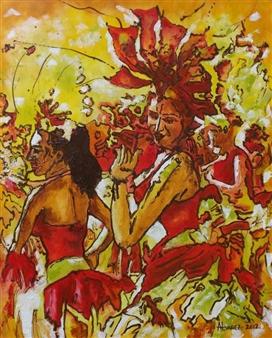 Cesar Alvarez - Carnaval Oil on Canvas, Paintings