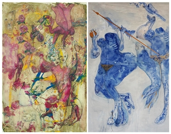 Volkmar Jesiek - Adam / Eva (diptych) Mixed Media on Canvas, Mixed Media
