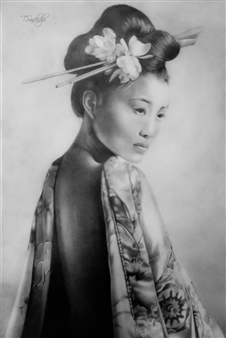 Tiko Sanikidze - Japanese Woman Pencil on Paper, Drawings