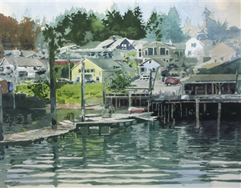 Duane Anderson - Gig Harbor Watercolor on Paper, Paintings