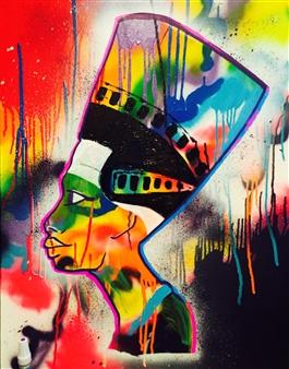 Mobarick Abdullah III - Pharaoh Spray Paint on Canvas, Paintings