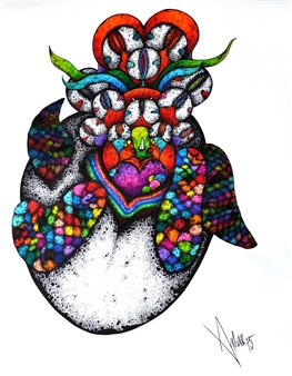 Mariana Lino - Turtle Heart Marker on Canvas, Drawings