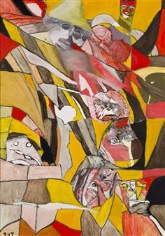 Wojciech Tut Chechliński - Battle Oil on Canvas, Paintings