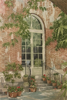 Duane Anderson - Filoli Doorway Watercolor on Paper, Paintings