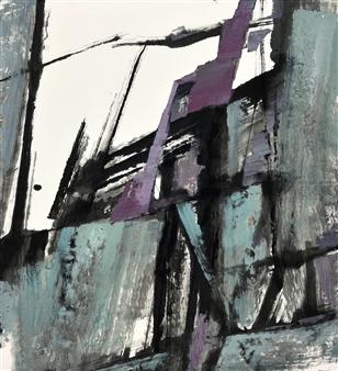 Sherman Lin - Falling Mountains No 76 Ink & Mixed Media on Paper, Mixed Media
