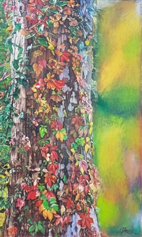 Mikele Arapi - Fall's Colorful Round a Log Oil on Canvas, Paintings
