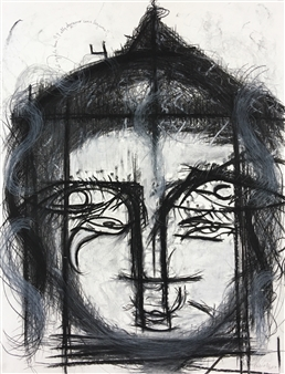 Lorena Becerra - And the Ego Touched Her and She Shed a Tear Charcoal on Paper, Drawings