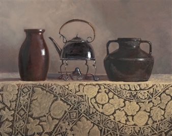 Robert Lenz - Grandmother's Table Cloth Oil on Linen, Paintings