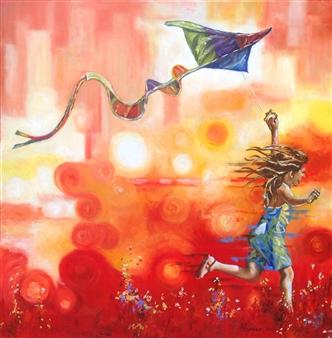 Cesar Alvarez - Con Los Pies en la Tierra Oil on Canvas, Paintings