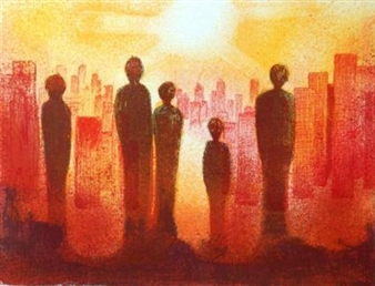 Sigmund Nyberg - Light Over Town Lithograph, Prints