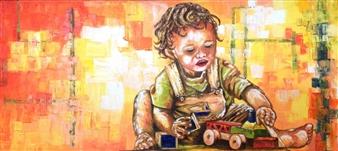 Cesar Alvarez - Al Calor de la Infancia Oil on Canvas, Paintings