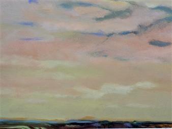 Margaret Vega - Morning Light en Route to Paestum Oil on Paper, Paintings