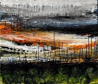 Gita Levy - Landscape Mixed Media on Canvas, Mixed Media