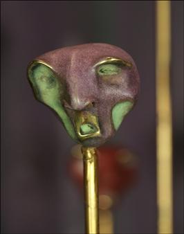 Annita Faitaki - Small Head 1 Bronze with Patina, Sculpture
