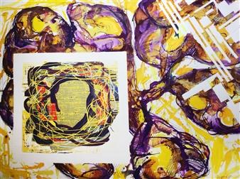 Michael Dolen - Pelvic Girdle with Circular Landscape Mixed Media on Paper, Mixed Media