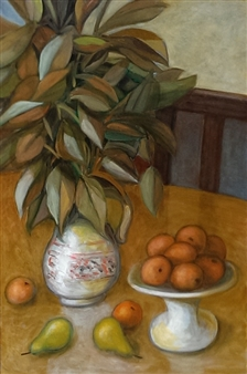 Vincent Torre - Still Life With Oranges and Pears Oil on Masonite, Paintings
