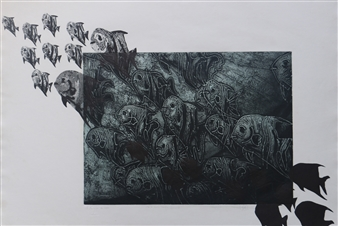 Juan Salazar - From the Series Contracorriente 4 Collograph, Prints