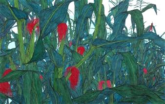 Su-Jeong NAM - Red Tassel Ink & Mixed Media on Canvas, Mixed Media