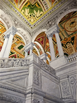 Duane Anderson - Library of Congress Watercolor on Paper, Paintings