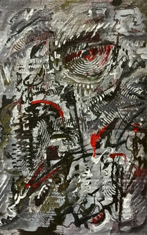 Terry Firkins - Self-Portrait on Election Night Oil on Cardboard, Paintings