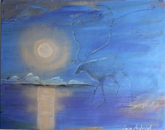 Lars Aukrust - Midnight Reindeer Acrylic on Canvas, Paintings