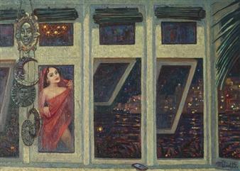 Alexander Telin - Night Giclee Print with Acrylic Embellishment, Prints