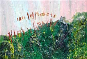 Trent Altman - A Garden in the Rain Acrylic & Mixed Media on Canvas, Mixed Media