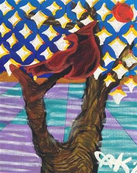 Olivia Kapoor - Desert Snow Acrylic & Oil Pastel on Canvas, Paintings