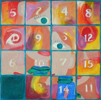 Martin Randall Joyce - Fifteen Puzzle: Girl's Self Portrait Acrylic on Canvas, Paintings