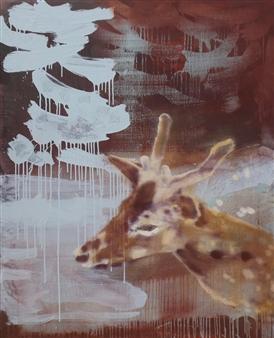 Colin Grant - Rainstorm; A Deer Awakes Oil on Canvas, Paintings