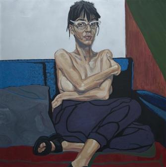 Christian Barbosa - Bela en el Sillon Oil & Spray Paint on Canvas, Paintings