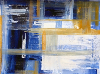 Maria Fernandez Gold - Untitled (Blue) Acrylic & Encaustic on Paper, Mixed Media
