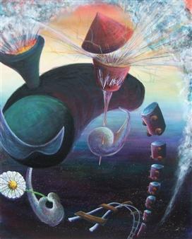 Kenji Inoue - Soul Train to Mystery Acrylic on Canvas, Paintings