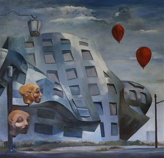 Mali Lasker - Red Balloones Oil on Canvas, Paintings