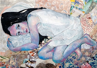 Claudia Mayer-Mallenau - Träumerei Acrylic, Collage & Mixed Media on Canvas, Mixed Media
