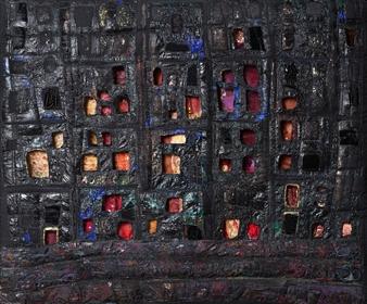 Saskia Weishut-Snapper - Undzer Shtetl Brent (Our City is Burning) Mixed Media on Fabric, Mixed Media