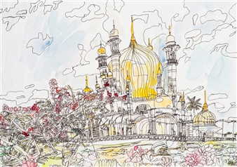 Ping Lian Yeak - 10109 Mosque Watercolor & Ink on Paper, Paintings
