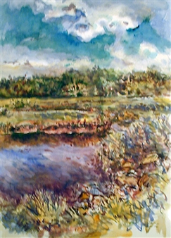 James Chisholm - Newman Rd Newburyport Marsh, August Watercolor on Canvas, Paintings