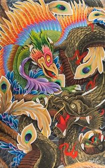 Mirco Pasqualini - The Plunky Phoenix Acrylic on Canvas, Paintings